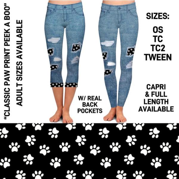 Classic Paw Print Peekaboo Leggings With Pockets