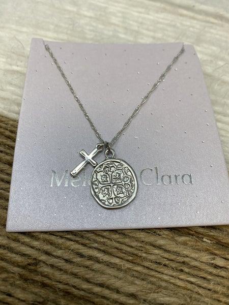 Melania Clara The Gemma coin & Cross silver Necklace