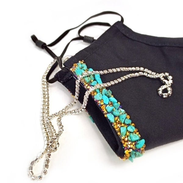 Designer Collection Turquoise Treasures Face Covering with Chain
