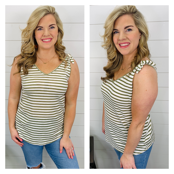 Sasha Stripe Top - Olive