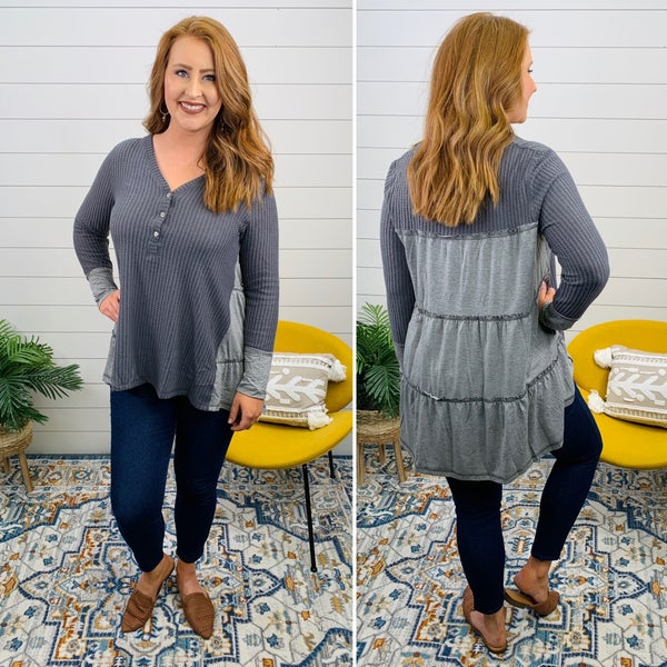 Cuddle Up Cozy Sweater - Charcoal *Final Sale*