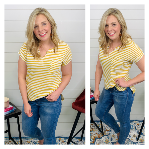 Saffron Yellow Stripe Top