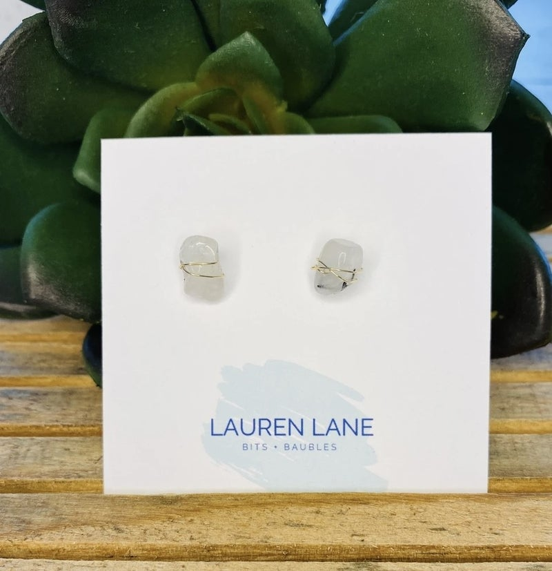 Kara Wire Wrapped Stone Studs -Gray