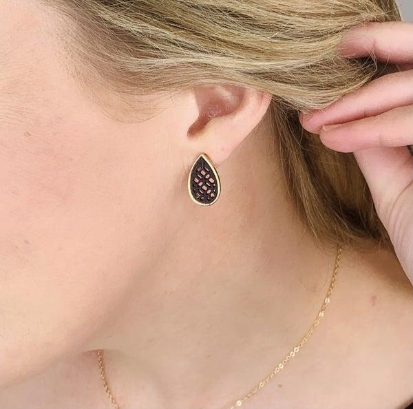 Delicate Droplet Earrings - Black