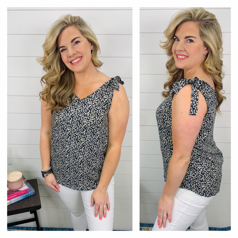 Lily of the Valley Top - Navy