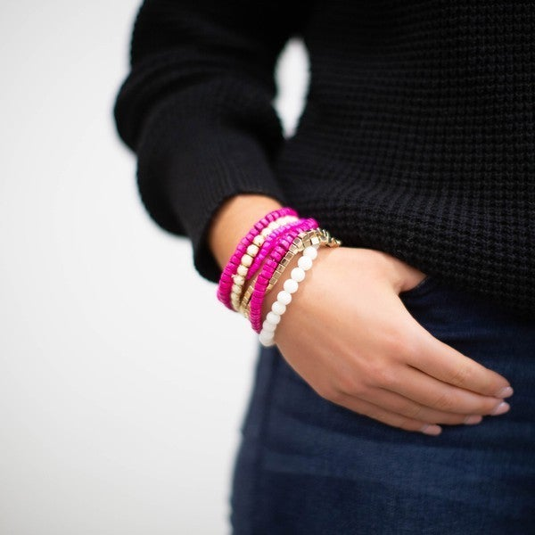 Boho Pink Bracelet Set