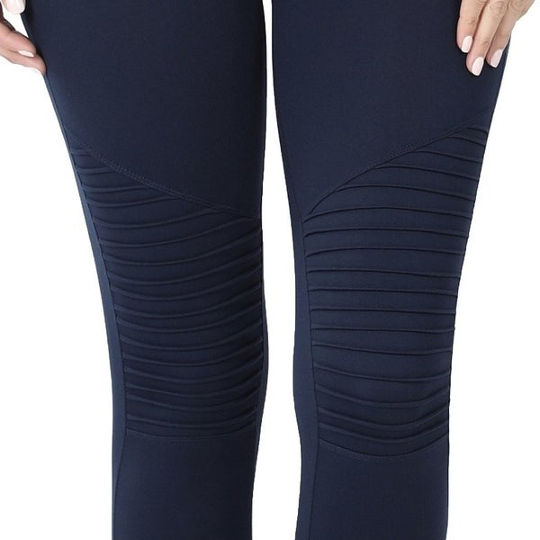 Wide Waistband Moto Leggings - Navy