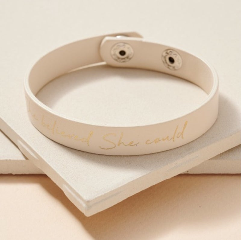 She Believed Leather Bracelet