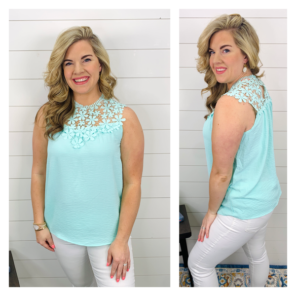 Calista Floral Crochet Top - Mint
