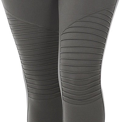 Wide Waistband Moto Leggings - Gray