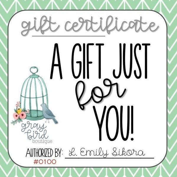 Gray Bird Boutique Gift Certificate