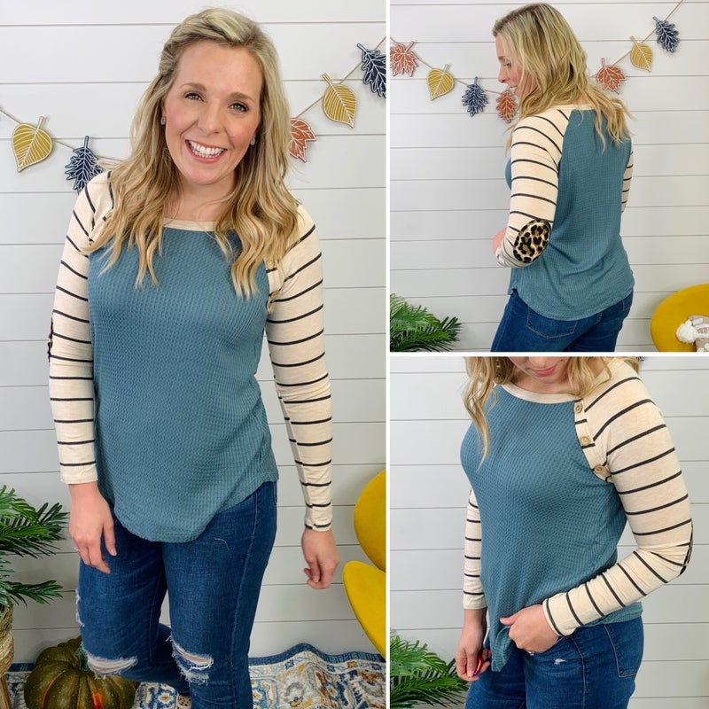 Atwood Leopard and Stripe Top - Teal