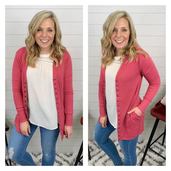 Charlee Snap Front Cardigan - Rose