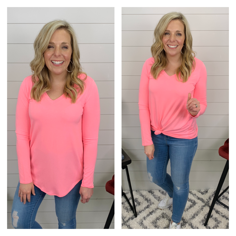 Luxe v-neck, hi low long-sleeved tee - Pink