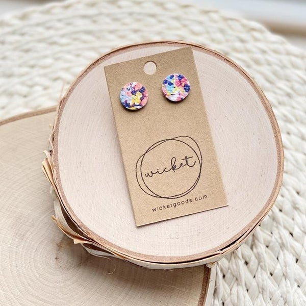 Pop of Color Leather Stud Earrings