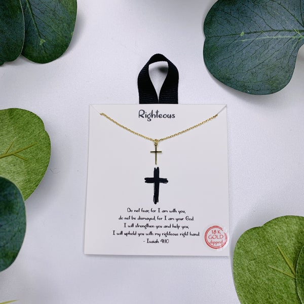 Righteous Cross Necklace - Gold