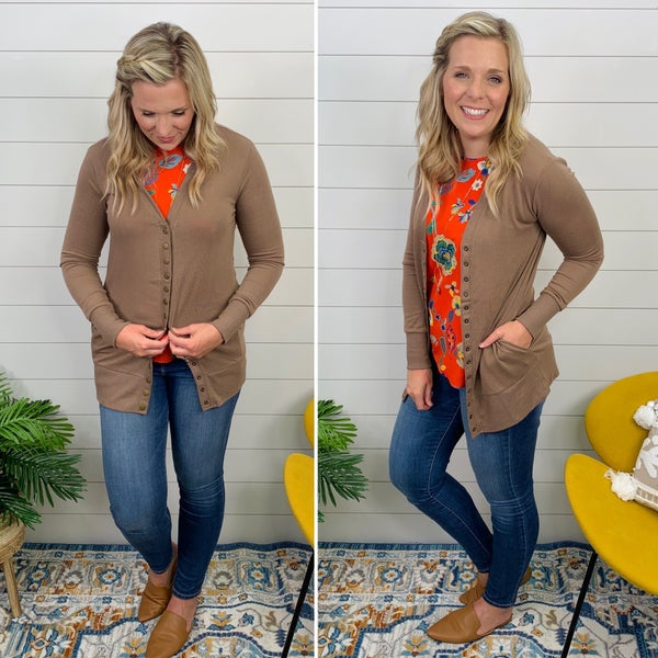Charlee Snap Front Cardigan- Mocha- only 3XL