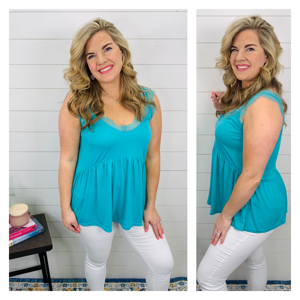 Lana Lace Top - Turquoise