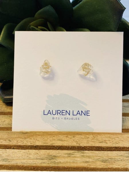 Kara Wire Wrapped Stone Studs - Clear