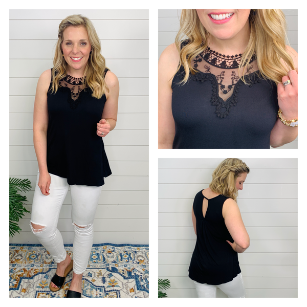 Charlotte Lace and Crochet Top - Black