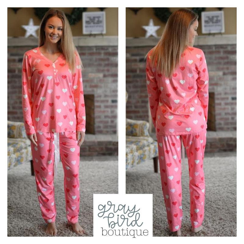 Hearts of Happiness Pajamas- only 2XL!
