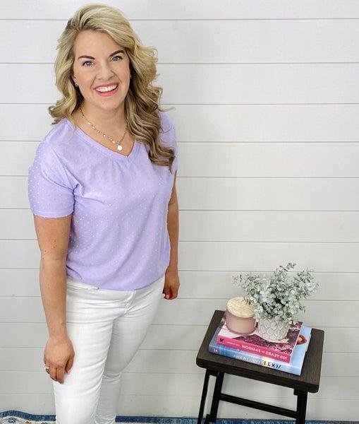 Denise Swiss Dot Top- Lavender