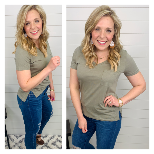 Anything but Basic Tee - Olive Green
