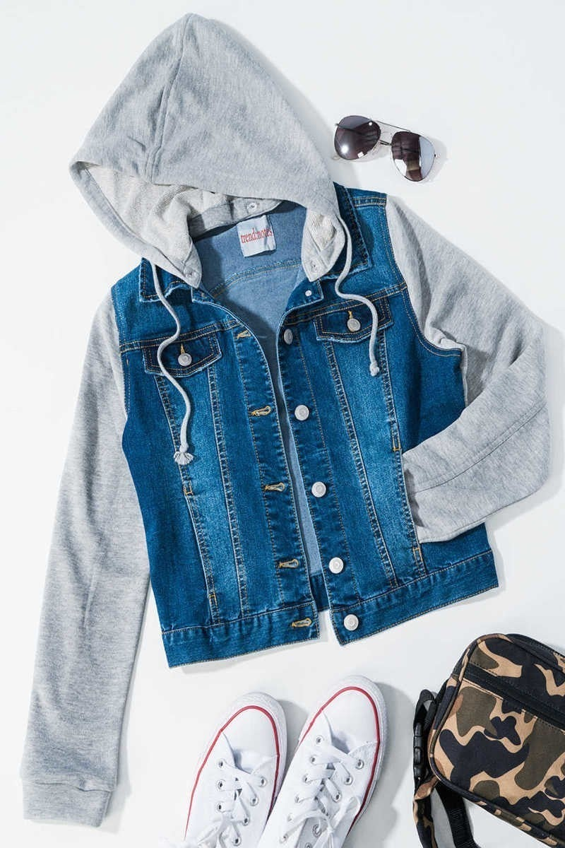 Jean Jacket with Detachable Hood (Two Colors)