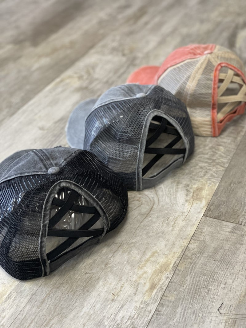 Distressed Criss Cross Pony Hat in Black, Grey, or Red