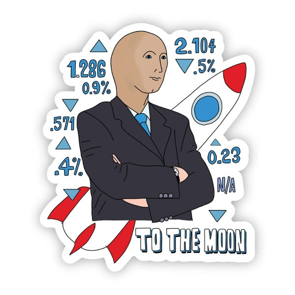 To the Moon Sticker - Stonks Guy