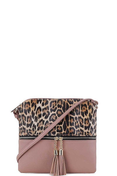 Leopard Crossbody Mauve Purse