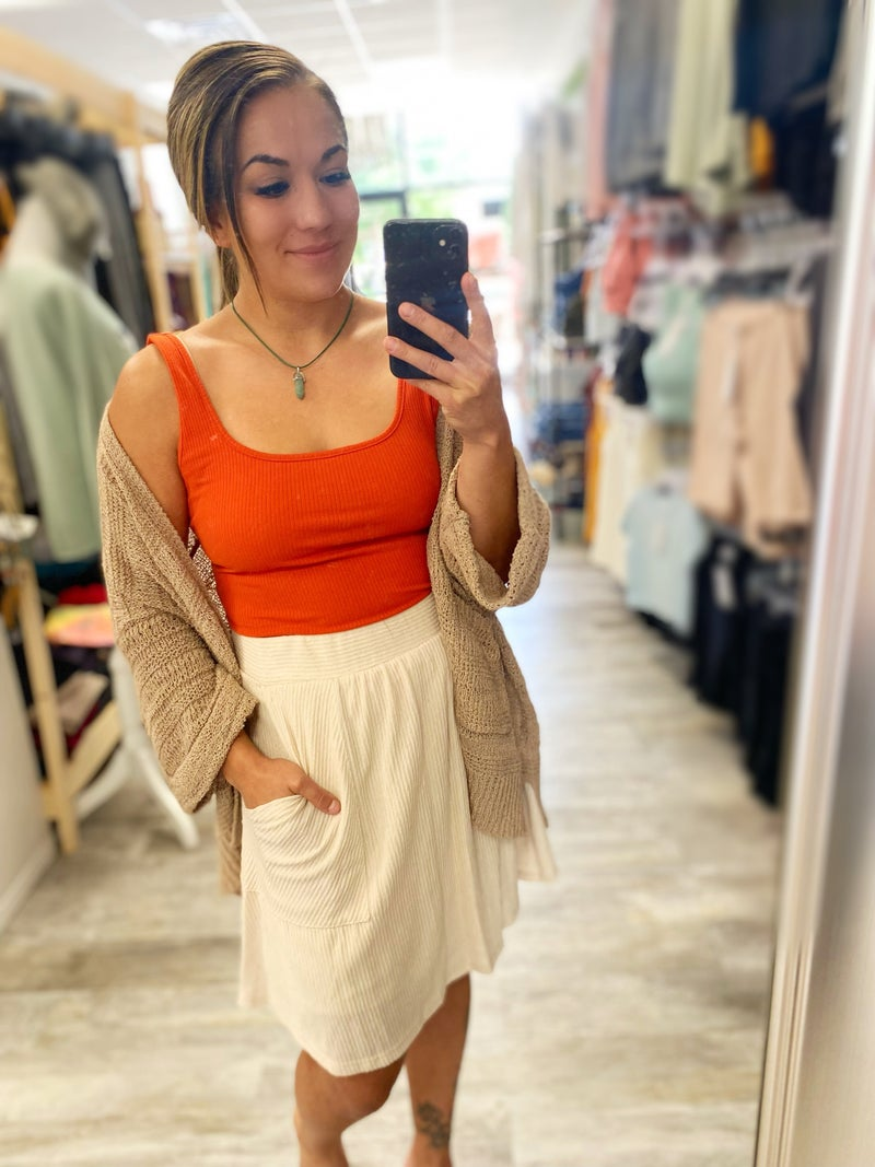Ribbed Beige Skirt with Pockets