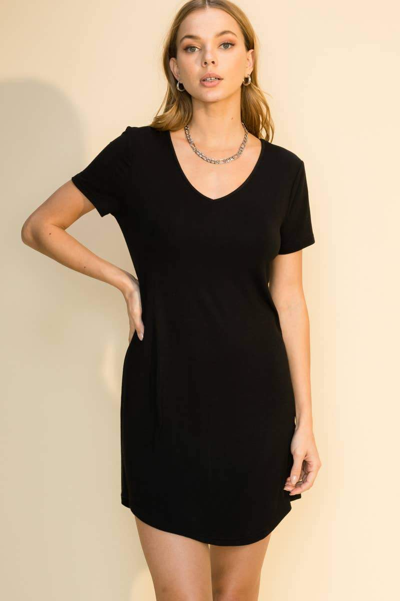 Simple T-Shirt Dress in Black