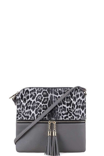 Leopard Crossbody Grey Purse