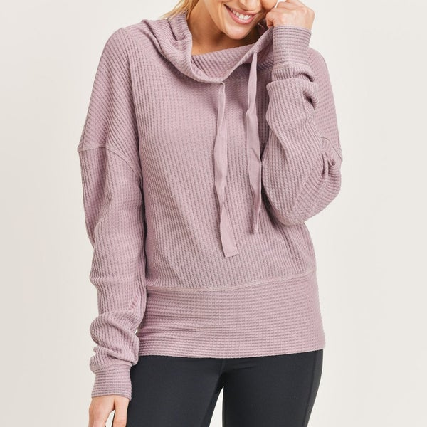 Waffled Cowl-Neck Pullover all Sizes by Mono B