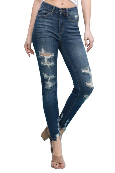 High-Rise Distressed Skinny all sizes by Judy Blue