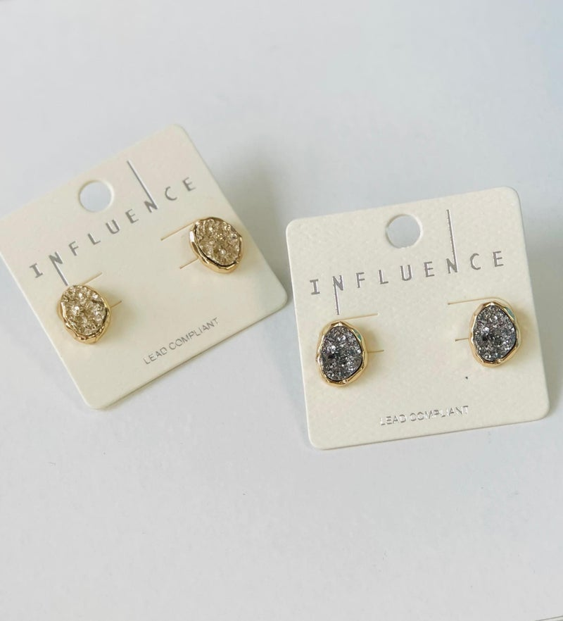 Druzy Earring Stone Silver or Gold