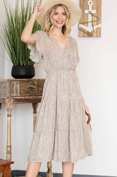 Amber Midi Dress with Flutter Sleeve