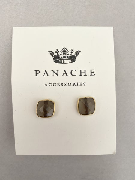 Square Gemstone Stud by Panache