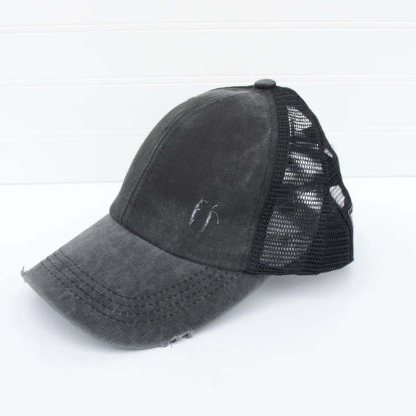 Distressed Criss Cross Ponytail Baseball Hat-Black