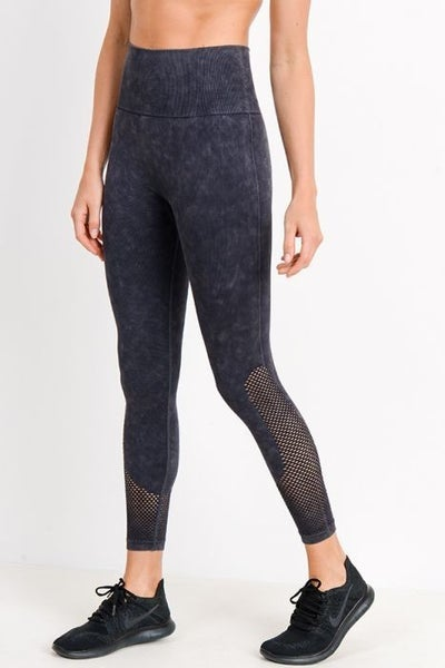 Mineral Wash Mesh Legging in Black by Mono B