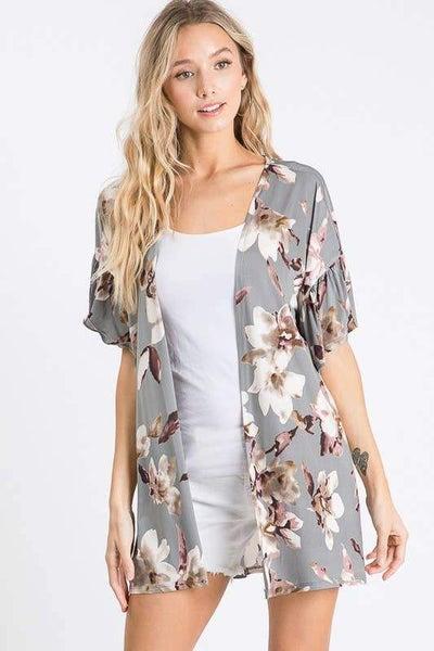 Floral Grey Kimono