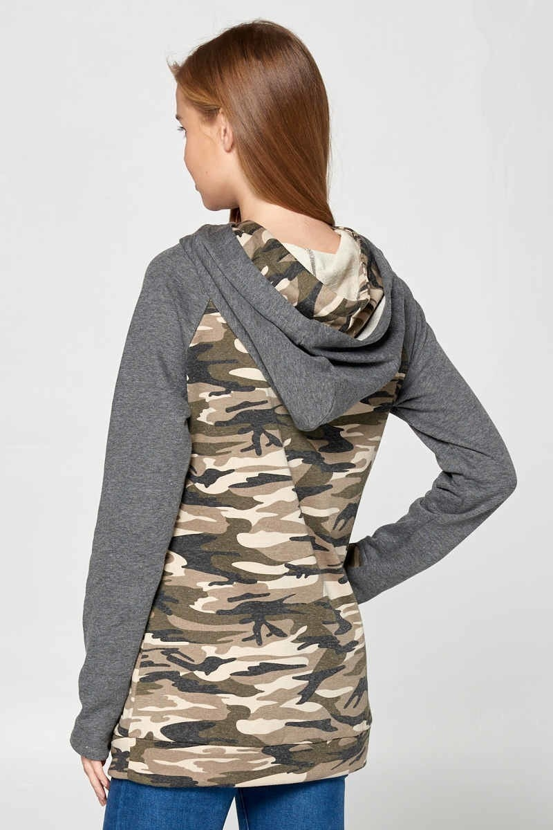 Double Zipper Hoodie with Camo Contrast