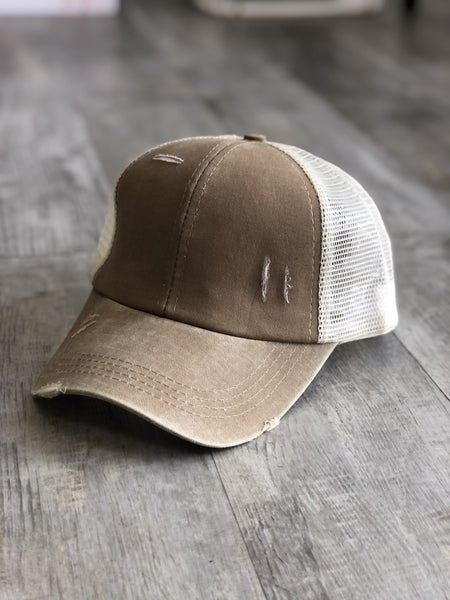 Distressed Criss Cross Ponytail Baseball Hat in Brown