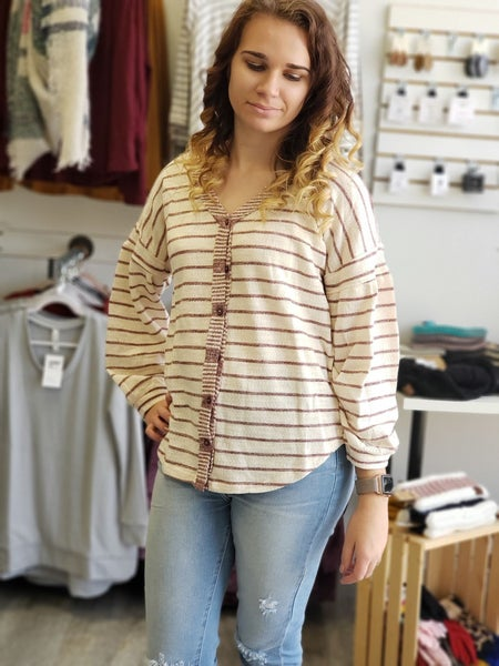 Dusty Candy Cane Top