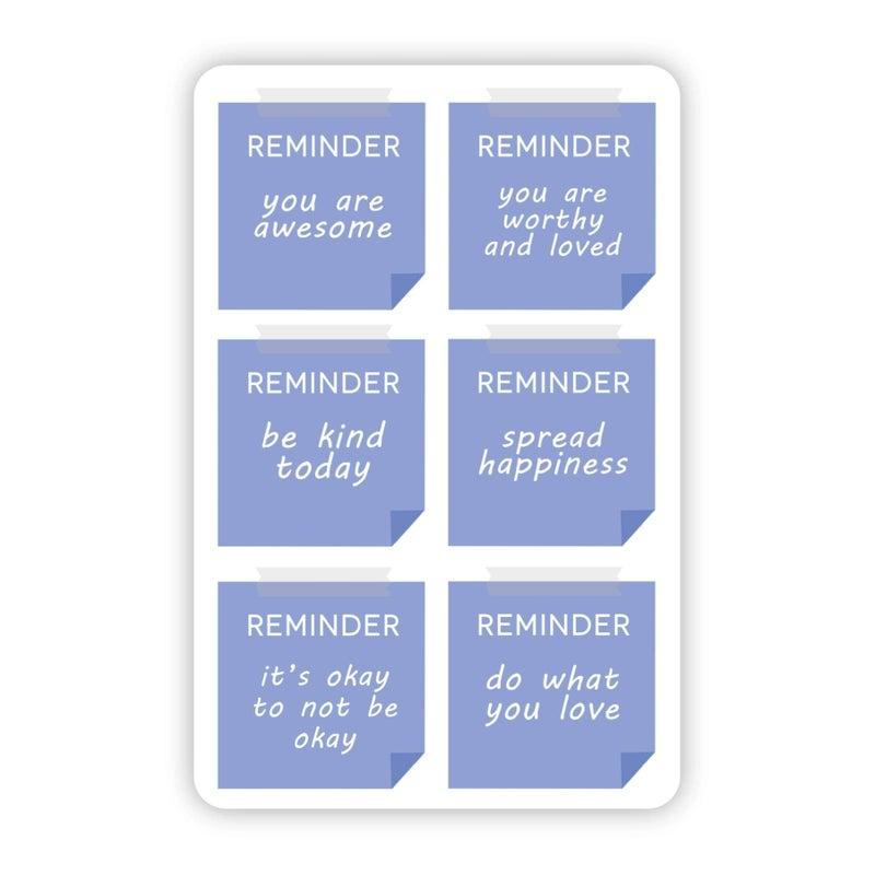 Positive Reminder Notes Blue Sticker