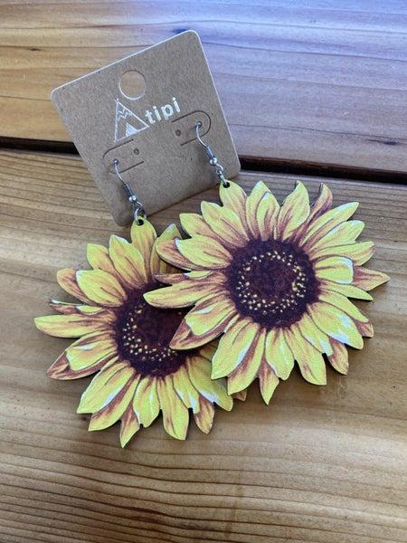 Sunflower Wooden Earring
