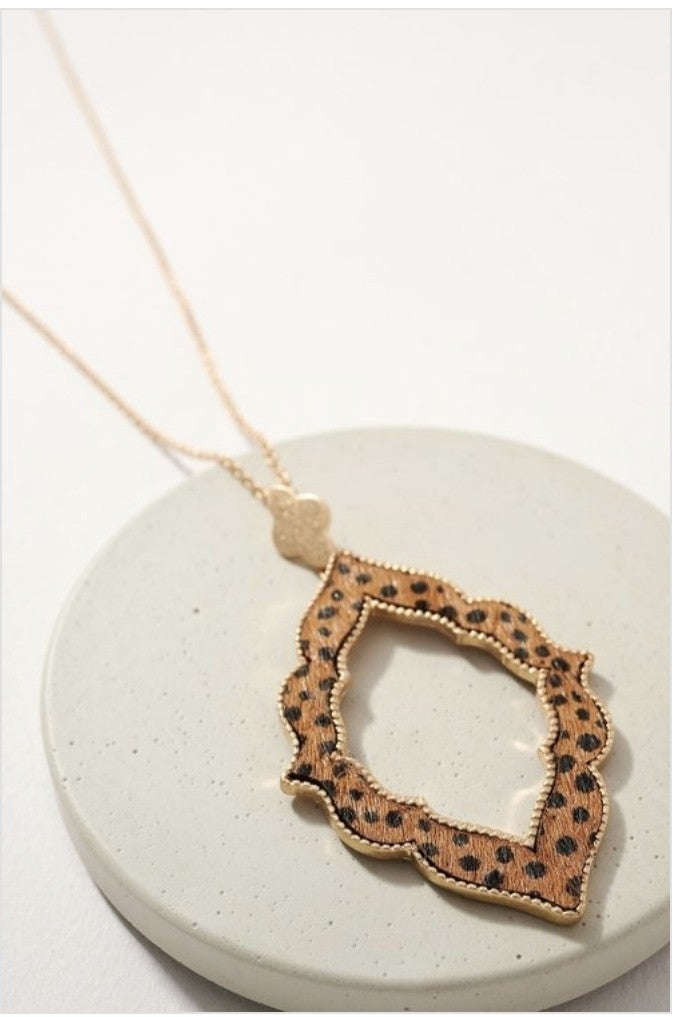 Cheetah Print Pendant Necklace