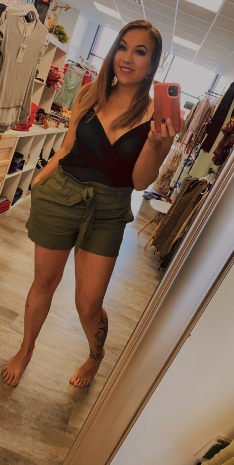 Simple Paperbag Shorts in Olive
