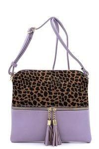 Leopard colorblock crossbody purse